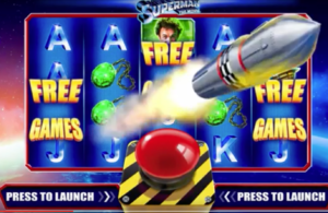 A Scene from the new Superman Slots game.