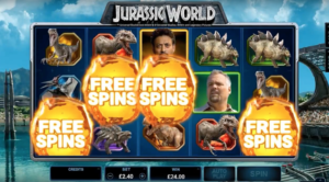 A scene from Microgaming's new Jurassic World slot.