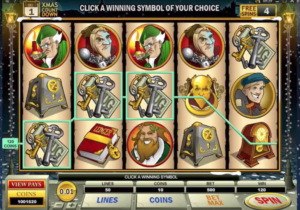 A view of the Scrooge online slot - by Microgaming.