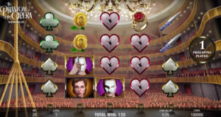 A snapshot of the main reels screen in NetEnt's new Universal Monsters: The Phantom of the Opera slot.